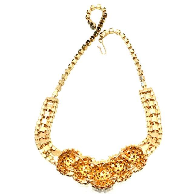 1950's Vintage Joseph Warner Gold & Swarovski Crystal Necklace and Earrings - Set of 3 For Sale - Image 11 of 12