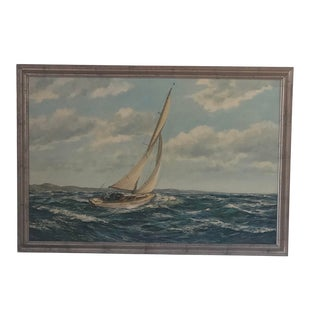 """Sailing on a Close Reach"" Oil on Canvas Painting. For Sale"