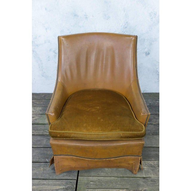 French Leather Armchair With Brass Nailheads - Image 2 of 10
