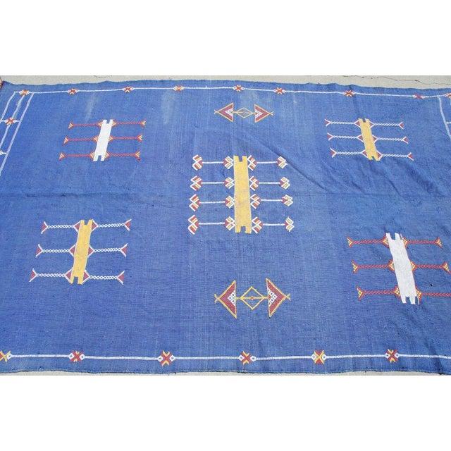 "Moroccan Indigo Blue Cactus Silk Rug- 4'5"" x 8' - Image 4 of 6"