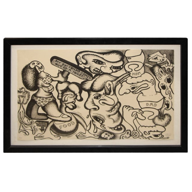 Peter Saul Lithograph Numbered 1/10 and Signed For Sale