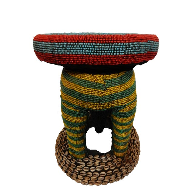 African Beaded Bamileke Elephant Stool - Image 6 of 10