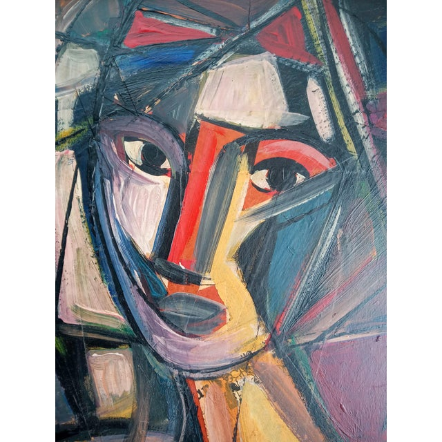 A magnificent cubist depiction of a woman with strong colors and hues. Both bold strokes of color and eye-popping contrast...