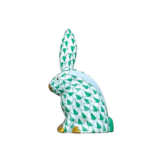 ebbbc318315 Early 20th Century Vintage Herend Porcelain Green Rabbit Figurine For Sale  - Image 5 of 5