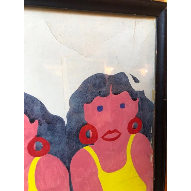 Yellow Swimsuit Sisters Painting on Paper For Sale In Seattle - Image 6 of 11