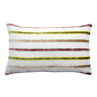 FirmaMenta Italian Multicolor Stripes Chartreuse Velvet Lumbar Pillow For Sale