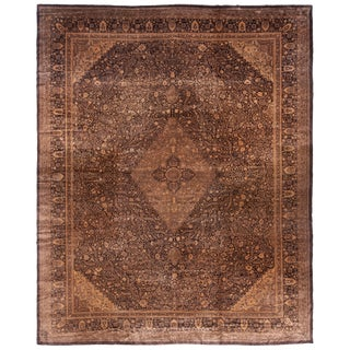 Antique Agra Transitional Black and Copper Beige Wool Rug For Sale