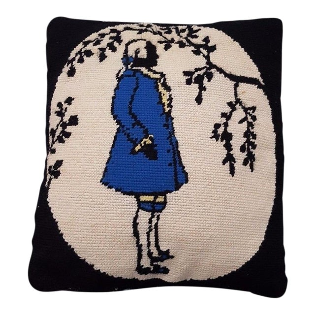 Jonathan Adler Style Vintage Funky Needlepoint Pillow For Sale