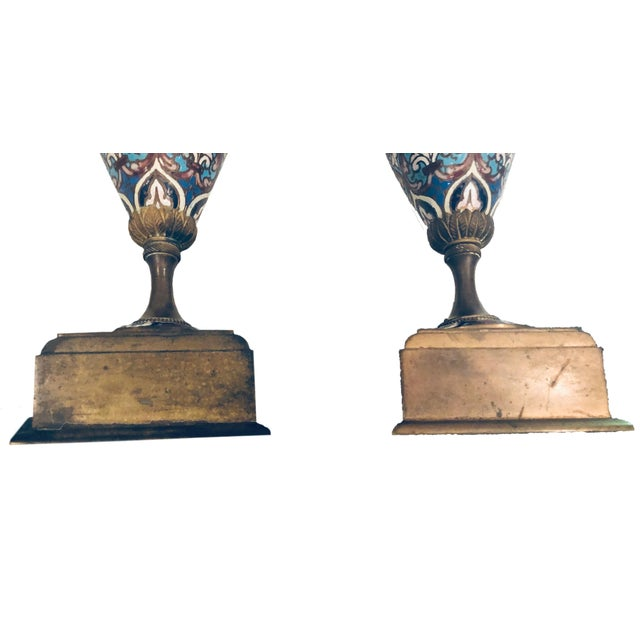 19th Century French Champleve Vases- a Pair For Sale In Tampa - Image 6 of 10