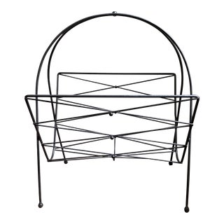 Vintage Mid Century Black Metal Wire Magazine Holder For Sale
