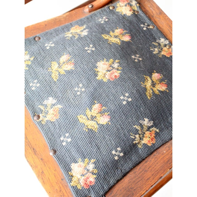 Brown Victorian Ladder Back Chairs With Needlepoint - Set of 4 For Sale - Image 8 of 8
