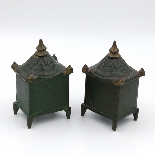 Vintage English Victorian Cast Iron Architectural Still Banks C. 1880 - a Pair For Sale - Image 4 of 5