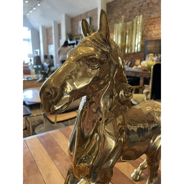Mid 20th Century Vintage Brass Horse For Sale - Image 5 of 9