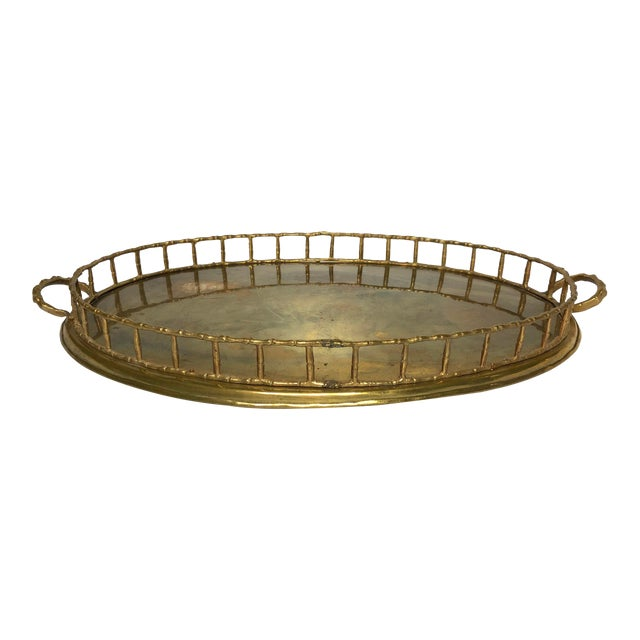 Vintage Faux Bamboo Brass Tray For Sale
