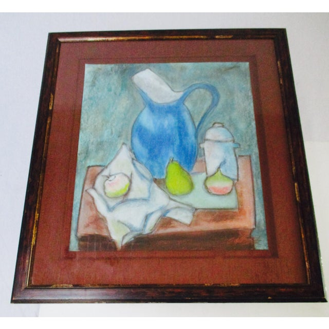 Still Life Blue Water Pitcher & Fruit Painting - Image 2 of 8