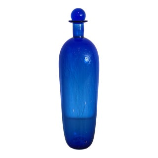 Cobalt Blue Oggetti Italian Glass Decanter With Ball Stopper, Signed For Sale