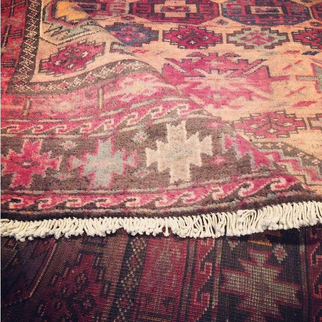 Green Pink Vintage Persian Baluch Rug with Modern Tribal Style For Sale - Image 8 of 9