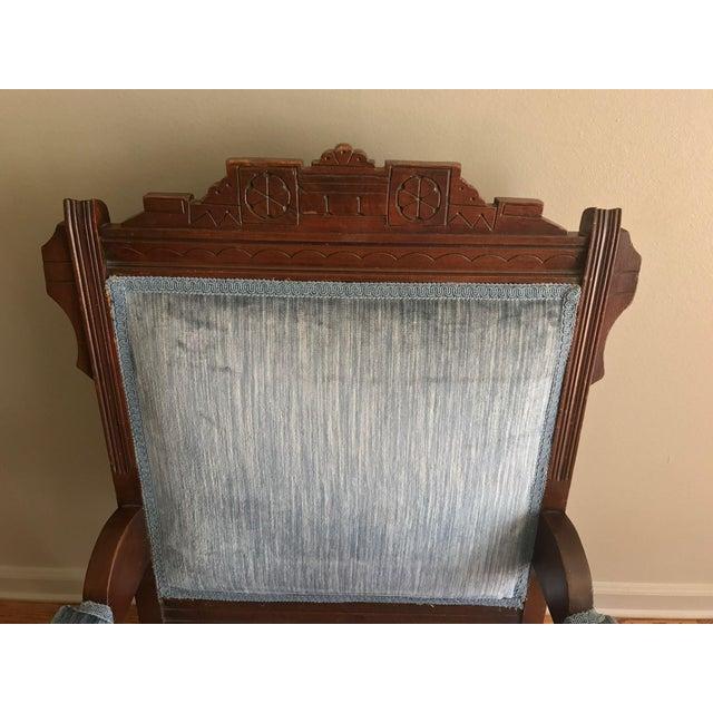 Textile Blue Velvet Eastlake Chair For Sale - Image 7 of 9