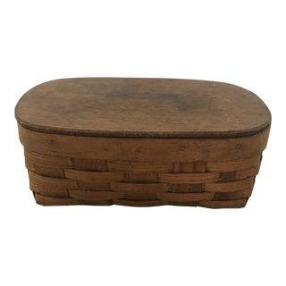 Antique Oval Basket With Attached Wooden Lid For Sale