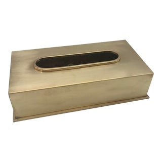 Hollywood Regency Brass Tissue Box Cover For Sale