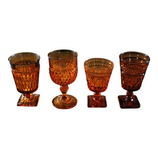 Mid-Century Modern Cut Amber Glass Goblets - Set of Four For Sale
