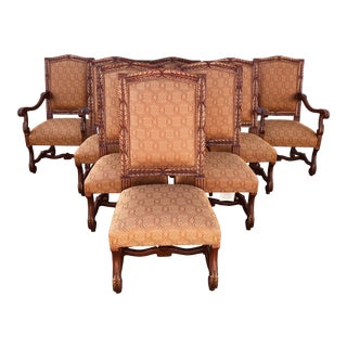 Vintage Italmond Furniture Wood Upholstered Dining Chairs - Set of 8 For Sale