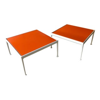 Richard Schultz for Knoll Orange Enamel Top Side / Coffee Tables - Set of 2 For Sale