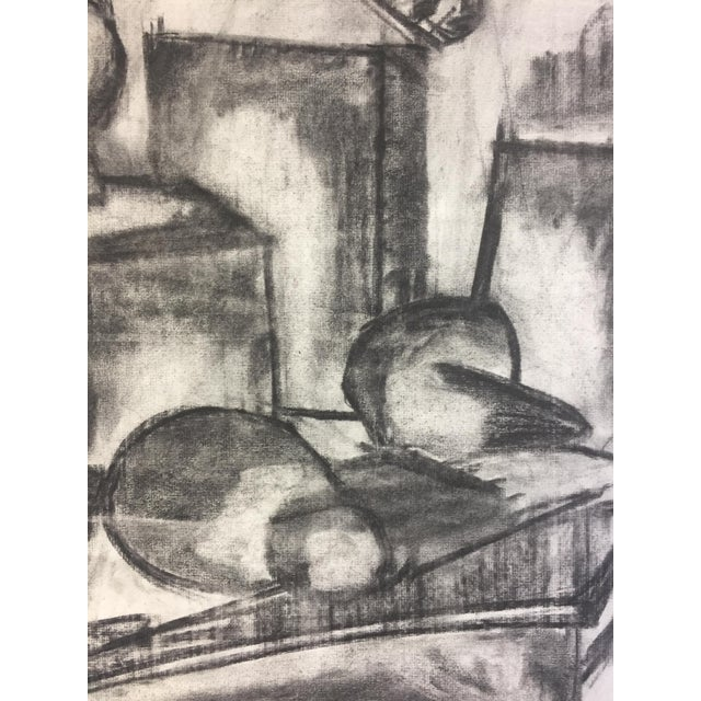Asian 1950s Henry Woon Mid Century Charcoal Still Life For Sale - Image 3 of 7