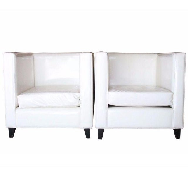 Modern White Club Chairs - A Pair - Image 2 of 4