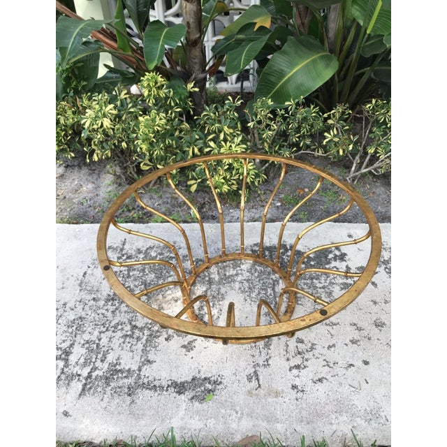 Boho Chic Boho Chic Gilt Faux Bamboo Circular Coffee Table For Sale - Image 3 of 5