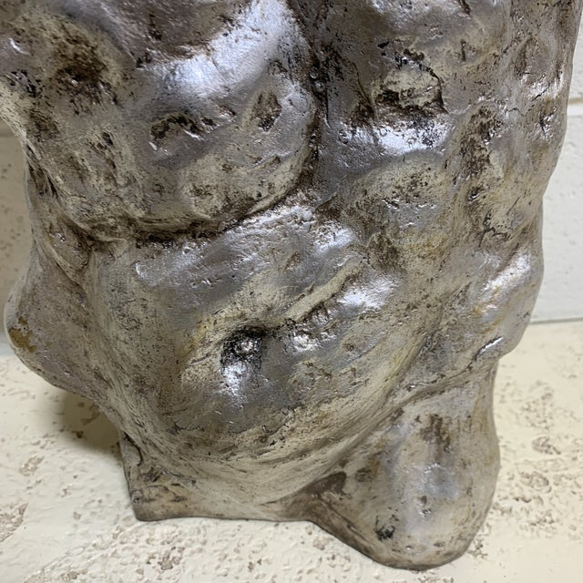 Resin Vintage Mac Sculpture Silver Leaf Torso For Sale - Image 7 of 12