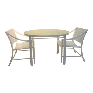 Hall Bradley for Brown Jordan Alumicane Mid-Century Modern White Patio Set For Sale