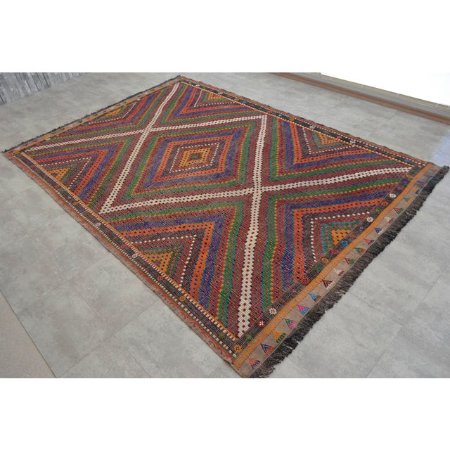 "Hand Woven Turkish Kilim Area Rug - 6'9"" X 9'6"" - Image 2 of 9"