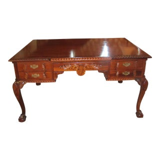 Queen Anne Carved Wood 10 Drawer Partners Desk