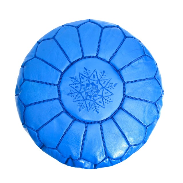 Atlas Blue Leather Pouf - Image 1 of 4