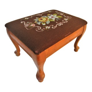 1930s Vintage Needlepoint Wood Foot Stool For Sale