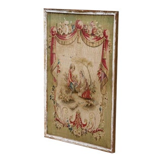 18th Century French Original Painted and Gilt Frame Aubusson Tapestry For Sale