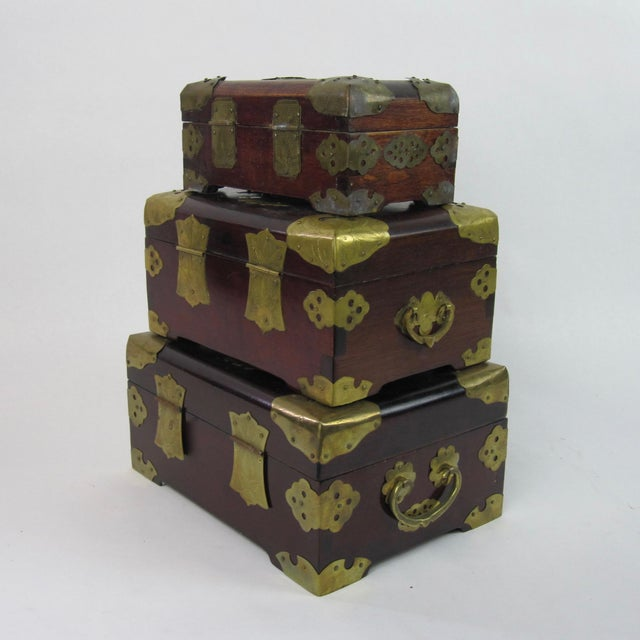 Antique Chinese Jewelry Boxes With Jade - Set of 3 For Sale - Image 5 of 9