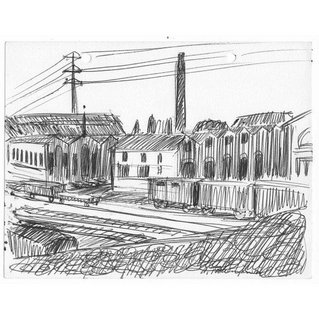 Illustration 1960s Alex Tschernjawski Industrial Scene For Sale - Image 3 of 3