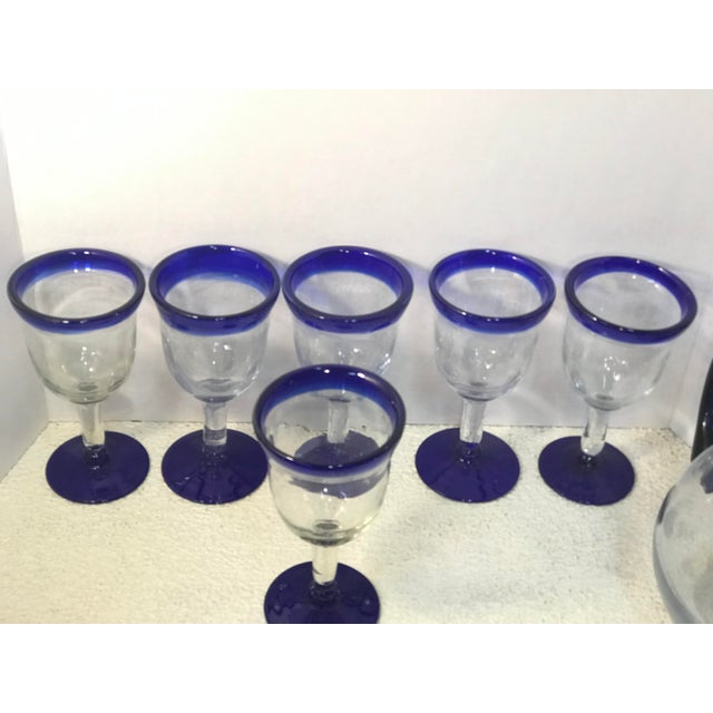 Vintage Mexican Blown Glass Cobalt Blue Rim Pitcher and Goblets - Set of 7 For Sale In Sacramento - Image 6 of 7