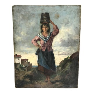 Gorgeous Italian Antique Oil Painting of Woman With Bucket For Sale