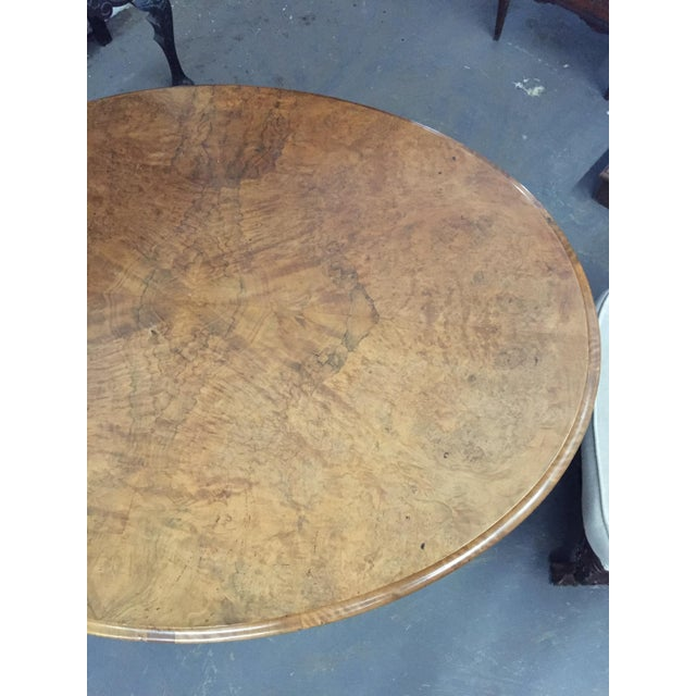 English Burl Walnut Center Table C.1870 For Sale - Image 4 of 5