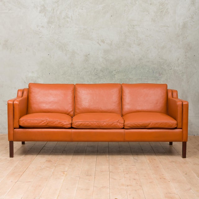 1970s Vintage Stouby Cognac Leather 3 Seat Sofa For Sale - Image 12 of 12