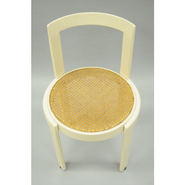Vintage Thonet Style Italian Mid-Century Modern Round White Cane Seat Side Chair - Image 3 of 10