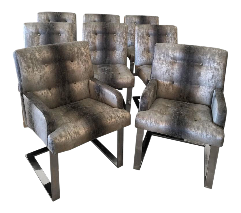 Paul Evans Chrome Cantilever Dining Chairs   Set Of 8   Image 12 Of 12