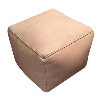 Square Pouf Ottoman by Mpw Plaza, Natural (Stuffed), Moroccan Leather Pouf Ottoman For Sale