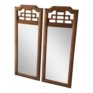 Henry Link Mandarin Burled Wood Mirrors - A Pair