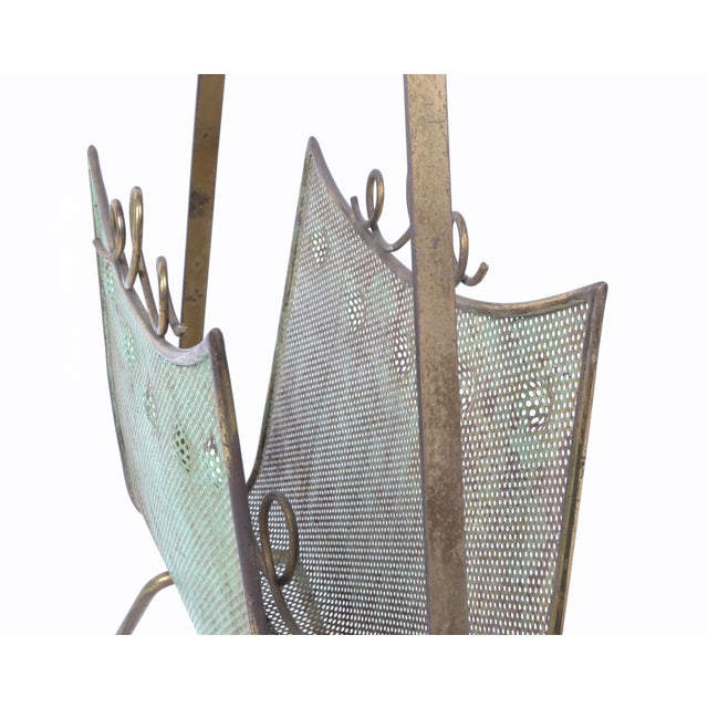 Brass Magazine Rack Attributed to Mathieu Matégot For Sale In Miami - Image 6 of 10