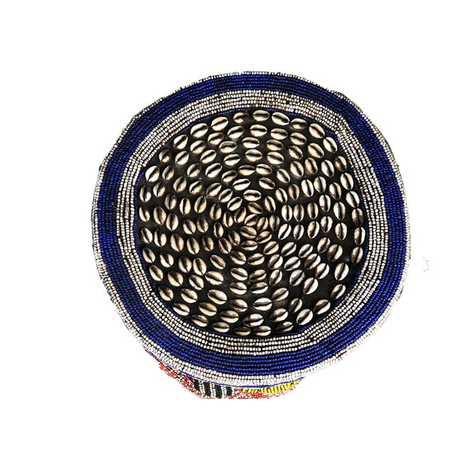 """1980s Lg African Beaded Wood Bamileke Stool /Table Cameroon 18.25'""""h For Sale - Image 5 of 9"""