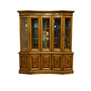 "Bernhardt Furniture Italian Provincial 73"" Illuminated Display China Cabinet For Sale"